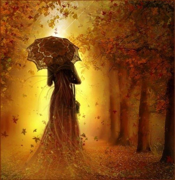 jolie dame dans bois automne